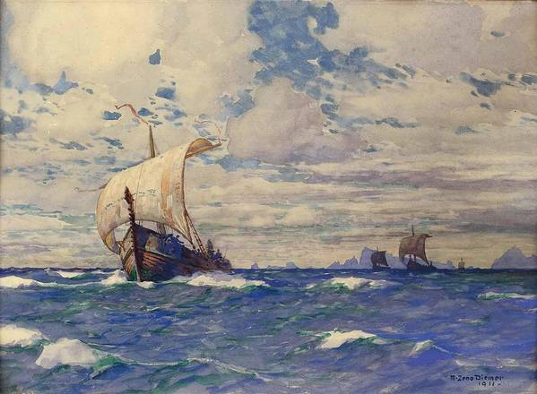 Pd Poster featuring the painting Viking Ships At Sea by Pg Reproductions