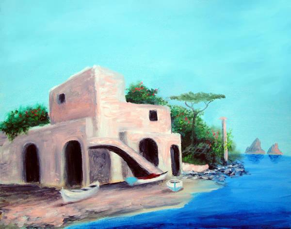 Capri Poster featuring the painting Villa Capri by Larry Cirigliano