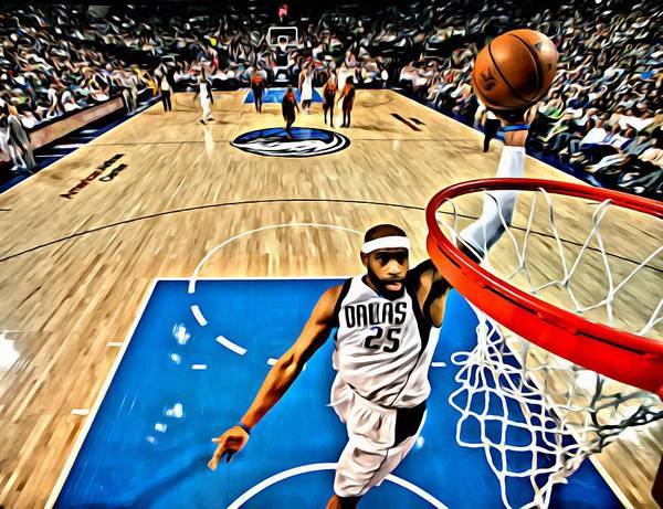 National Poster featuring the painting Vince Carter Dunking by Florian Rodarte