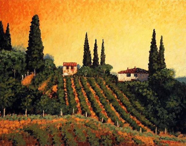 Impressionism Landscape Poster featuring the painting Vineyards Of Tuscany by Santo De Vita