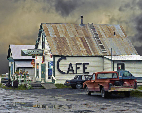 Alaska Poster featuring the photograph Vintage Alaska Cafe by Ron Day