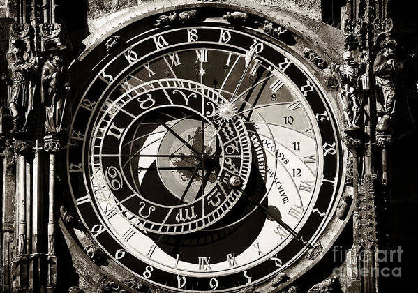 Vintage Poster featuring the photograph Vintage Astronomical Clock by John Rizzuto