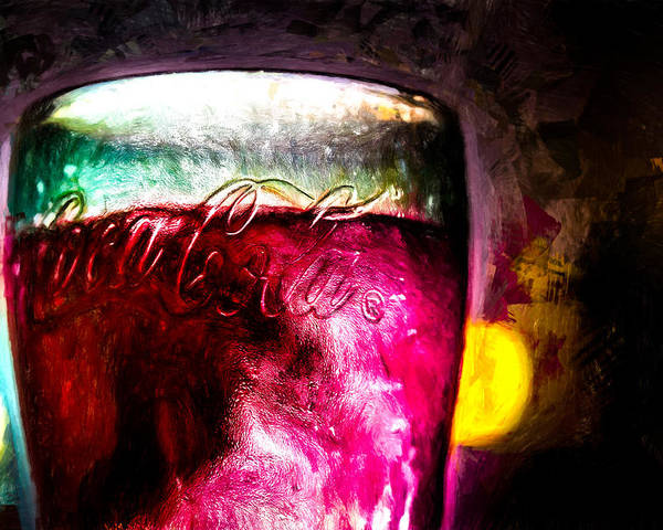 Coke Poster featuring the painting Vintage Coca Cola Glass With Ice by Bob Orsillo