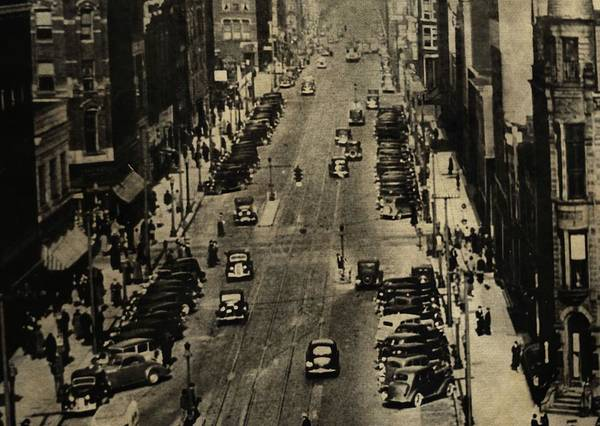 Vintage Downtown View Poster featuring the photograph Vintage Downtown View by Dan Sproul
