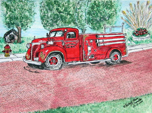 Firetruck Poster featuring the painting Vintage Firetruck by Kathy Marrs Chandler