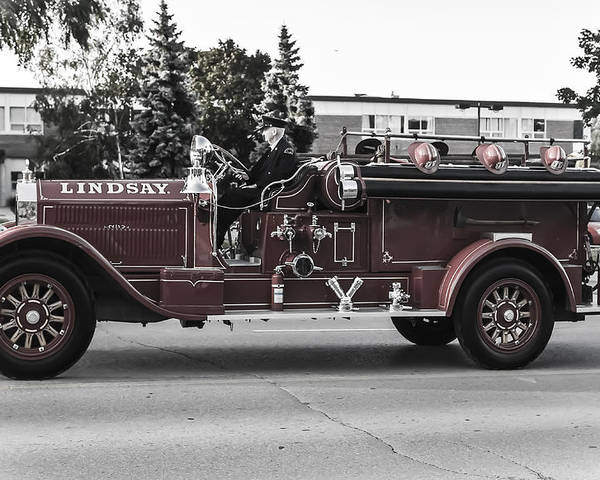 Firetruck Poster featuring the photograph Vintage Firetruck by Kevin Beer