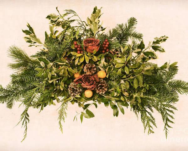 Wreath Poster featuring the photograph Vintage Floral Arrangement by Olivier Le Queinec
