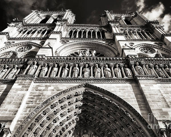 Vintage Notre Dame Poster featuring the photograph Vintage Notre Dame by John Rizzuto