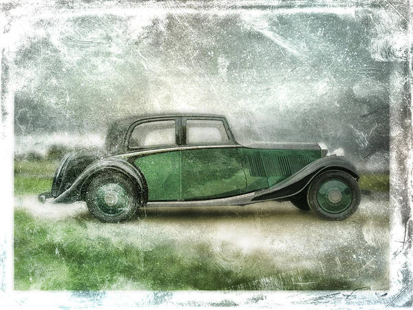 Vintage Poster featuring the digital art Vintage Rolls Royce by David Ridley