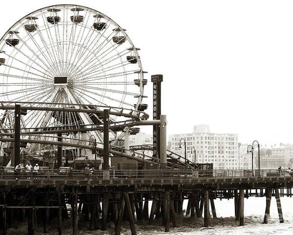 Vintage Santa Monica Pier Poster featuring the photograph Vintage Santa Monica Pier by John Rizzuto
