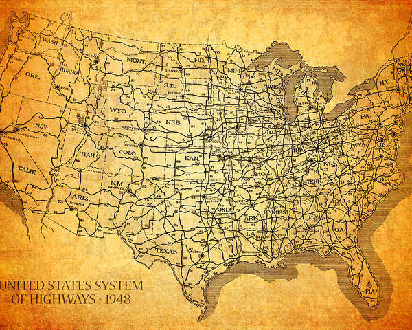 Vintage United States Highway System Map On Worn Canvas Poster
