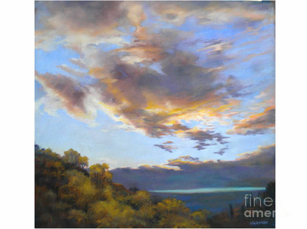 Sky Poster featuring the relief Vinuela Sunset by Heather Harman