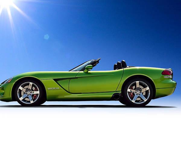 Green Poster featuring the digital art Viper Roadster by Douglas Pittman