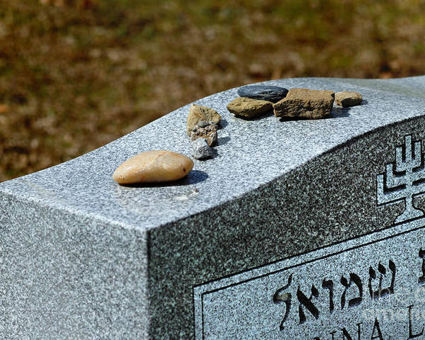 Cemetery Poster featuring the photograph Visitation Stones On Jewish Grave by Amy Cicconi