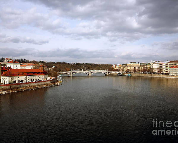Vltava River View Poster featuring the photograph Vltava River View by John Rizzuto