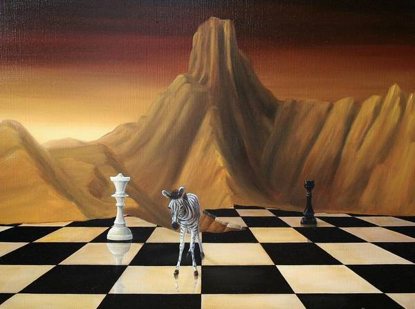 Surrealism Surreal Animals Zebra Landscapes Oil Paint Mountains Chess Queen Brown Sehstedt Michel Horse Lonely Fantasy Tower Mountains Art Surrealism Surreal Surealisme Black White Landscape Lost Poster featuring the painting Vulnerable/kwetsbaar by Michel Sehstedt