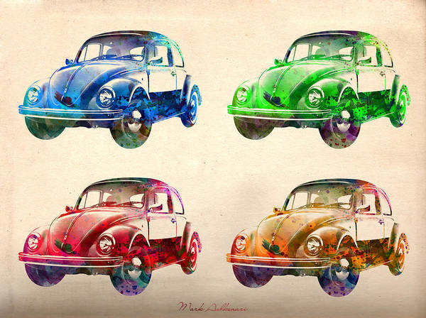 Car Poster featuring the digital art Vw 2 by Mark Ashkenazi
