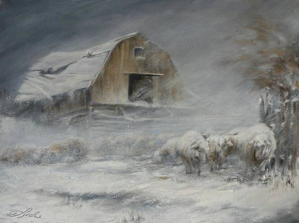 Sheep Poster featuring the painting Waiting Out The Storm by Mia DeLode