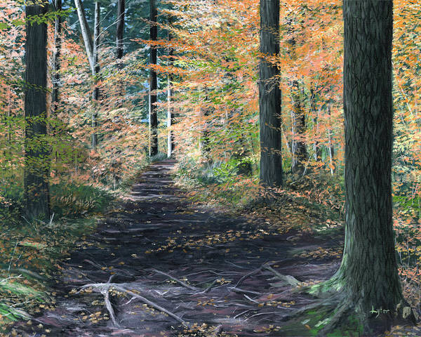 Autumn Poster featuring the painting Walk In The Woods by Christopher Lyter