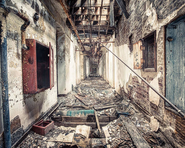Abandoned Poster featuring the photograph Walk Of Death - Abandoned Asylum by Gary Heller