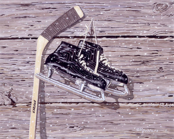 Hockey Poster featuring the painting Wall Of Fame by Richard De Wolfe
