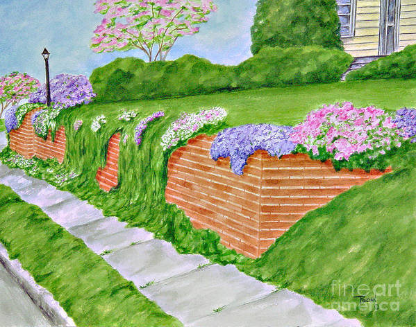 Landscape Poster featuring the painting Wall Of Flowers by Regan J Smith