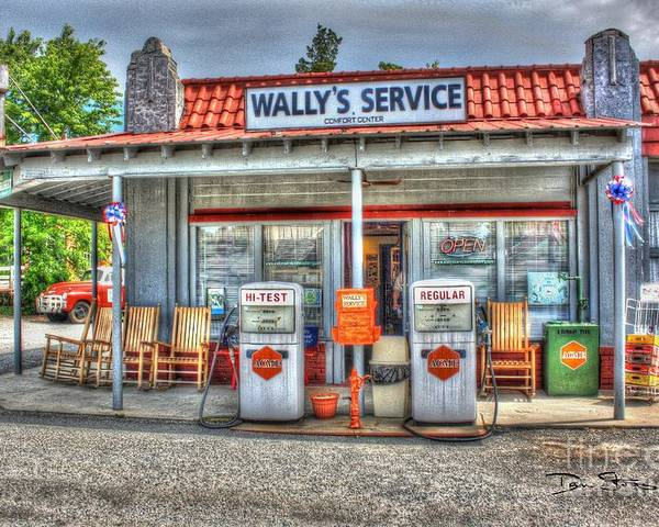 Vintage Poster featuring the photograph Wally's Service Station by Dan Stone