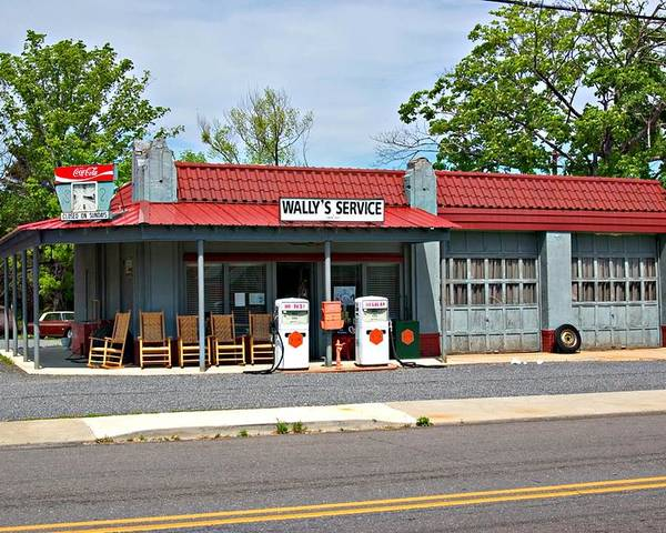 Wallys Service Station Poster featuring the photograph Wallys Service Station Mt. Airy Nc by Bob Pardue