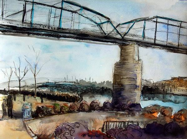 Art Poster featuring the mixed media Walnut Street Bridge by Julie Galante