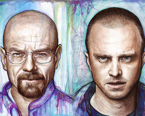 Breaking Bad Poster featuring the painting Walter And Jesse - Breaking Bad by Olga Shvartsur
