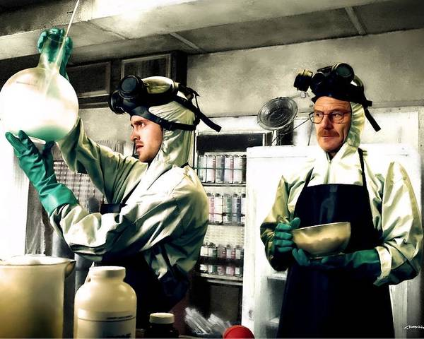Bryan Cranston Poster featuring the digital art Walter White and Jesse Pinkman by Gabriel T Toro