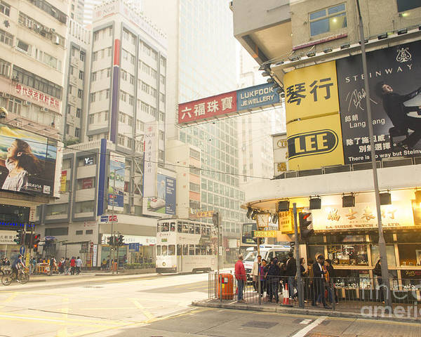 Wanchai Poster featuring the photograph wanchai street in Hong Kong by Tuimages