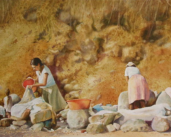 Women Poster featuring the painting Washerwomen by Karol Wyckoff