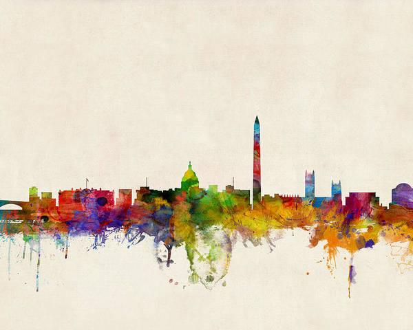 Watercolour Poster featuring the digital art Washington DC Skyline by Michael Tompsett