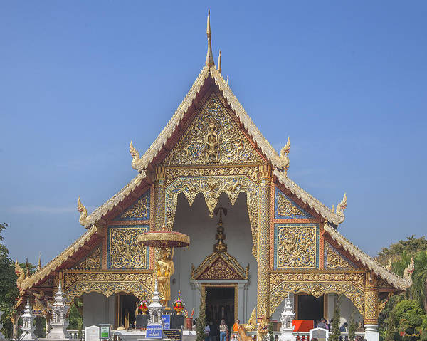 Scenic Poster featuring the photograph Wat Phra Singh Phra Wihan Luang Gable Dthcm0238 by Gerry Gantt