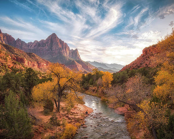 Zion Poster featuring the photograph Watchman Sunset by Michael Zheng