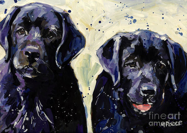 Labrador Retriever Puppies Poster featuring the painting Water Boys by Molly Poole