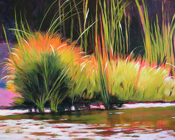 Landscape Poster featuring the painting Water Garden Landscape 3 by Melody Cleary