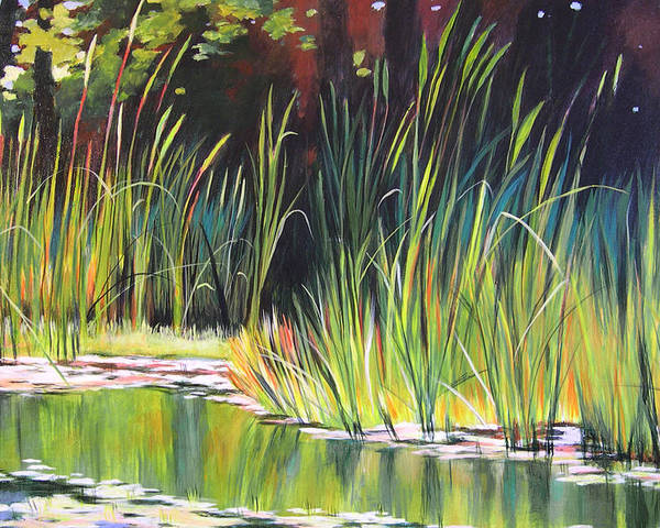 Grass Poster featuring the painting Water Garden Landscape II by Melody Cleary
