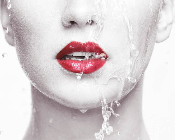 Lips Poster featuring the photograph Water Running Over Woman Face With Red Lips by Oleksiy Maksymenko
