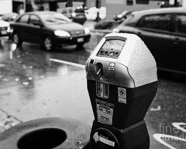 Water Poster featuring the photograph water soaked coin and credit card parking meter on the streets of downtown Vancouver BC Canada by Joe Fox