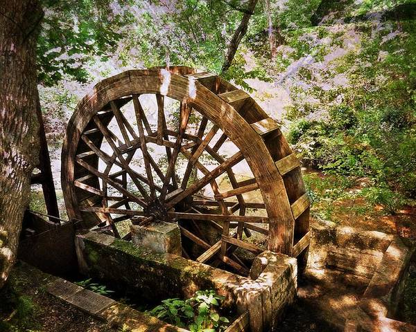 A Water Wheel At The Topaz Mill In The Missouri Ozarks. Poster featuring the photograph Water Wheel by Marty Koch