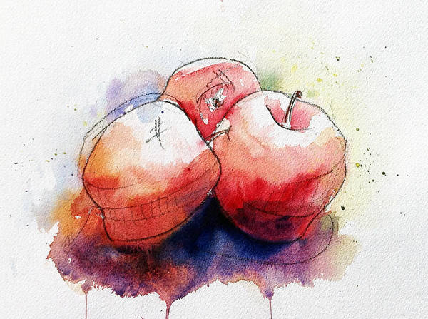 Watercolor Painting Poster featuring the painting Watercolor Apples by Andrew Fling