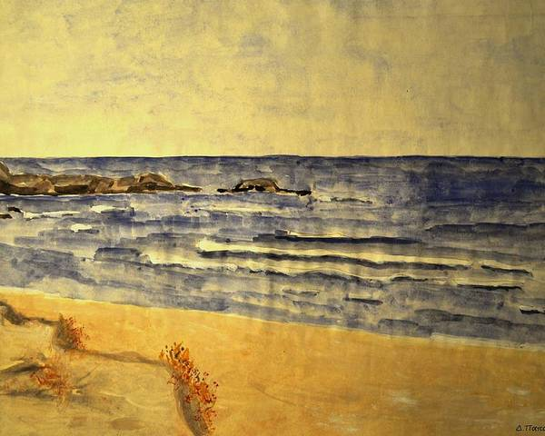 Painting Poster featuring the painting Watercolor Coast 2 by Dimitra Papageorgiou