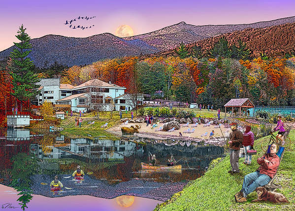 Waterville Estates Poster featuring the digital art Waterville Estates In Autumn by Nancy Griswold