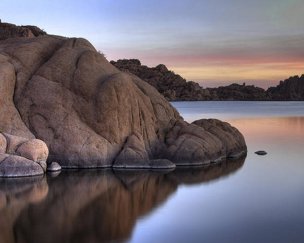 Sunrise Poster featuring the photograph Watson Lake Arizona Colors by Dave Dilli