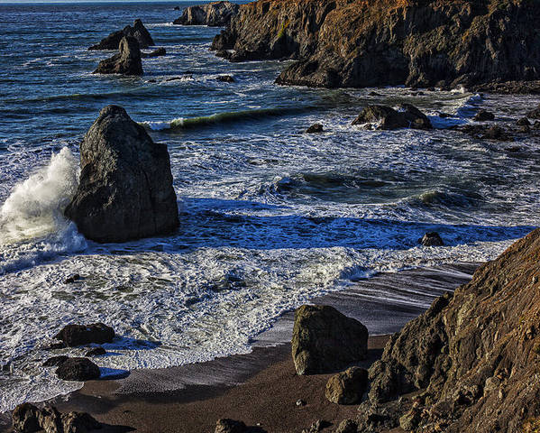 Beautiful California Poster featuring the photograph Wave Breaking On Rock by Garry Gay