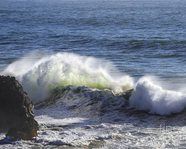 Bodega Bay California Wave Waves Water Oceans Sea Seas Pacific Ocean Bays Rock Formation Formations Rocks Spray Shore Shores Shoreline Shorelines Coast Coasts Coastline Coastlines Waterscape Waterscapes Poster featuring the photograph Wave Color by Bob Phillips
