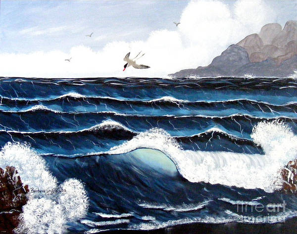 Wind Poster featuring the painting Waves And Tern by Barbara Griffin