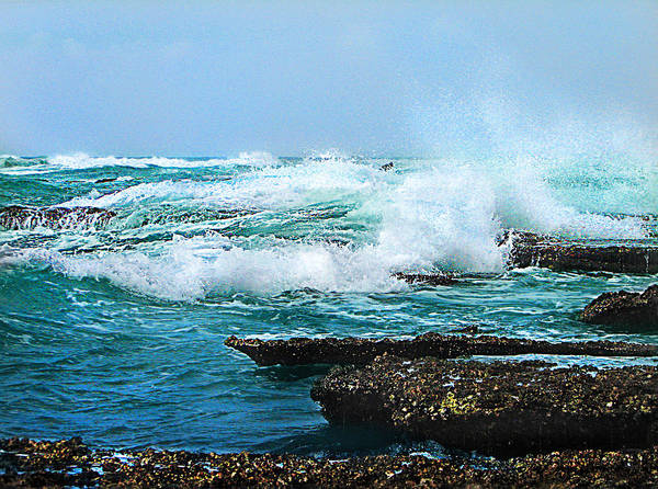 Sea Poster featuring the photograph Waves Hitting Shore by Ronel Broderick